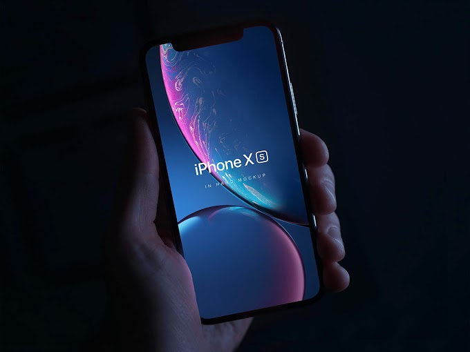 iPhone XS held in hand mockup where your artwork free psd template
