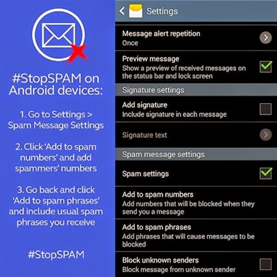 Stop spam on Android devices