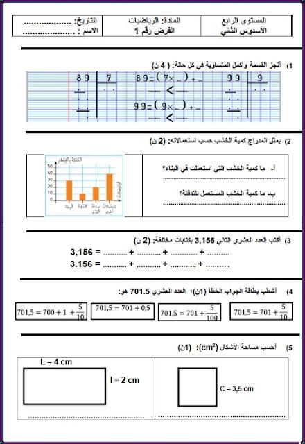 الفرض 1 الدورة الثانية الرياضيات المستوى الرابع نموذج 2