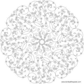 Forget-me-not mandala to color, available in JPG and transparent PNG