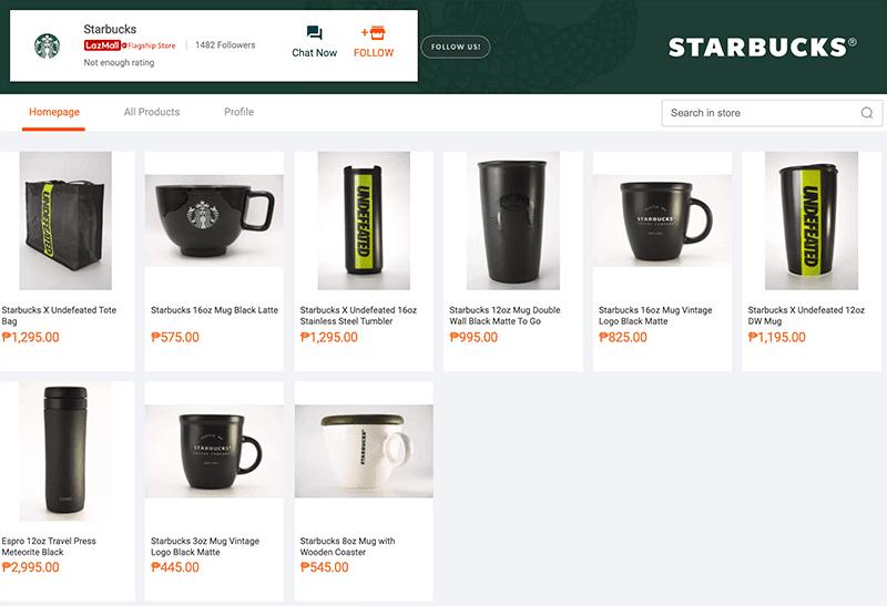 Screenshot of Starbucks Flagship store on Lazada as of 8:30PM on November 16