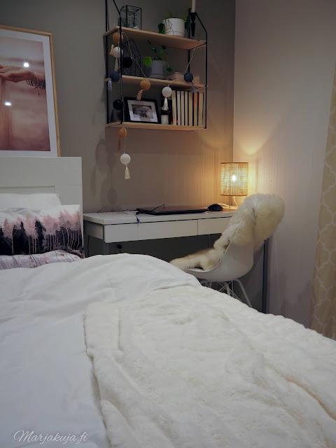 makuuhuone sisustus pehmeä sänky petaus petivaatteet vallila jotex jysk