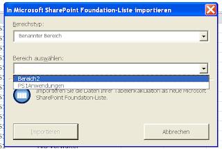 liste in sharepoint importieren