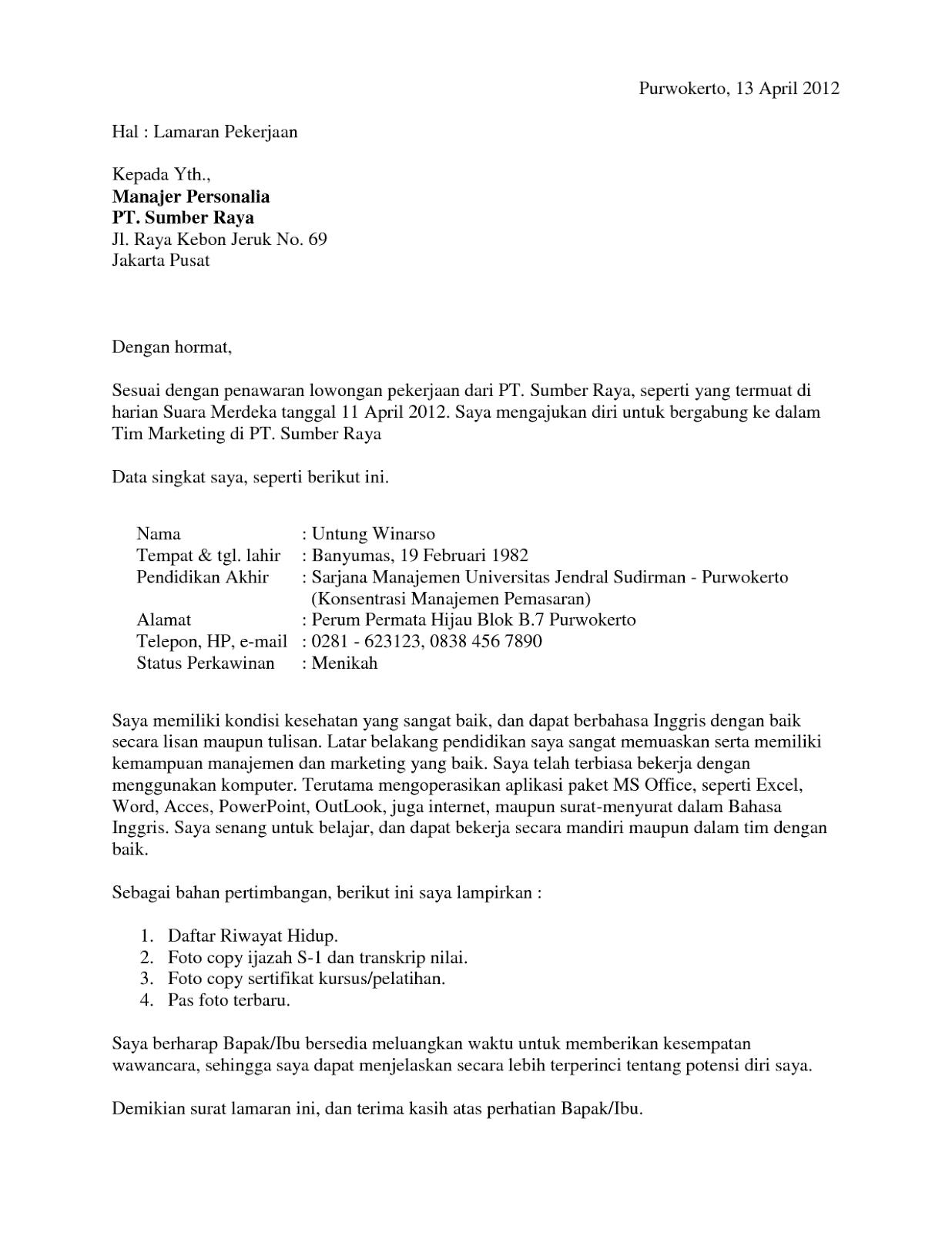 Surat Lamaran Kerja Quality Assurance - ben jobs