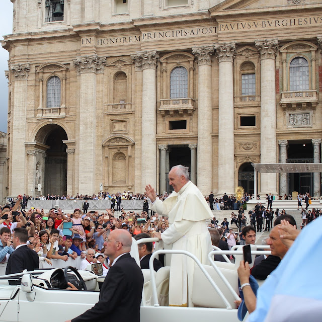 Pope Francis in his Popemobile