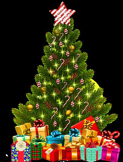 Ilustración de un árbol de navidad, decorado con bastones y otros adornos de caramelo.