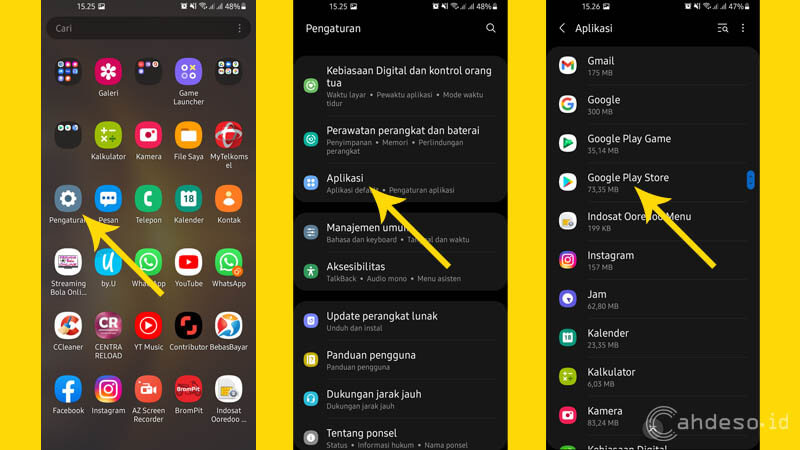Mengahpus Cache dan Data di Google Play Store