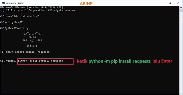 Selanjutnya instal modul requests pada OSIF di python.