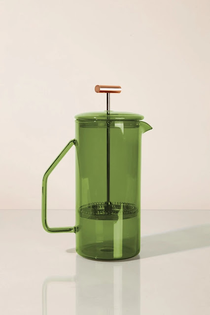 Green glass French press from Prism Seattle