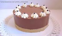 Tarta bavaroise de turrón y chocolate