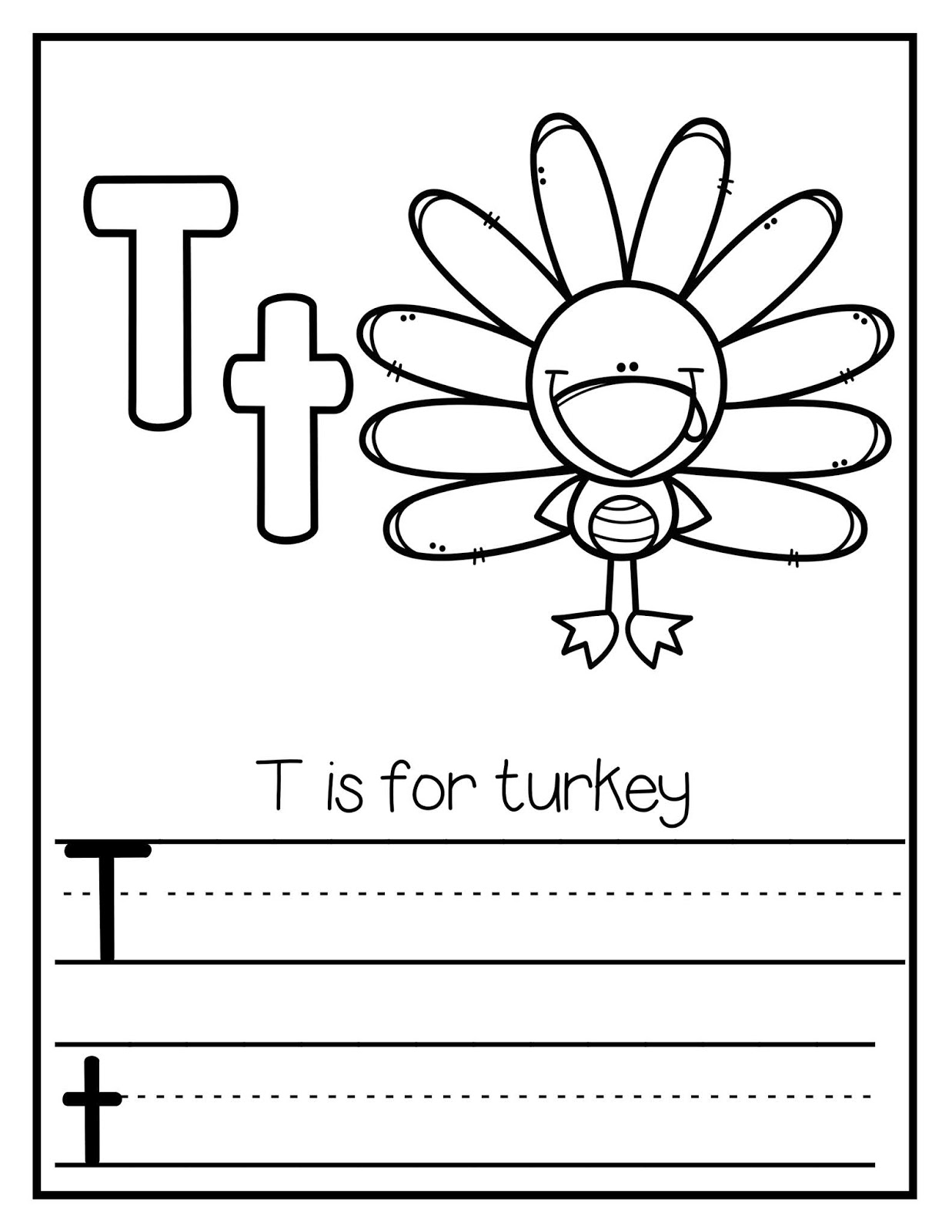 The Cozy Red Cottage T Is For Turkey Tracer Page
