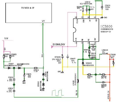 Hình 31b - Mạch chỉnh lưu bội áp để lấy ra điện áp VT (30V) cấp cho bộ kênh
