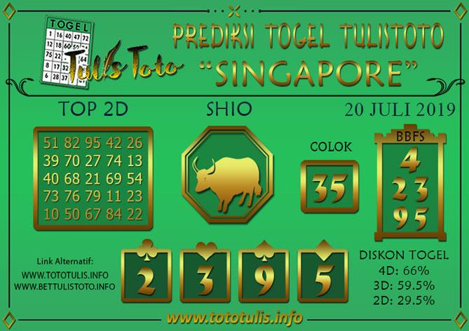 Prediksi Togel SINGAPORE TULISTOTO 20 JULI 2019