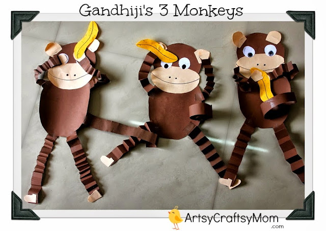 Gandhi 3 monkey craft Gandhi Jayanti Special   3 monkeys craft crafts age5 7 age3 5  India Crafts Craft Classes Animal Crafts