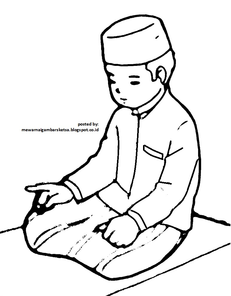 Mewarnai Gambar Mewarnai Gambar Sketsa Kartun Anak Muslim 17 Sedang