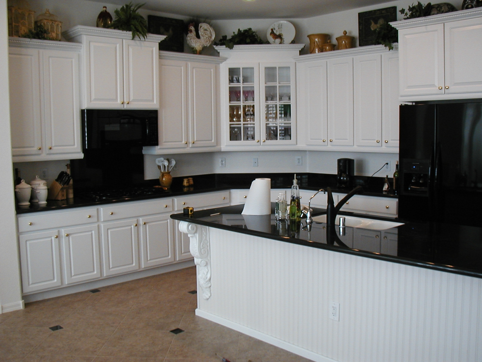 White Cabinets with Black Appliances