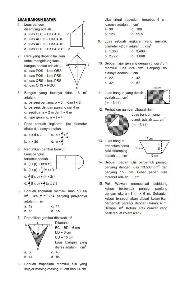 Soal UH Matematika Kelas 6 Semester 1  Luas Bangun Datar  Tempat Download Soal Ujian