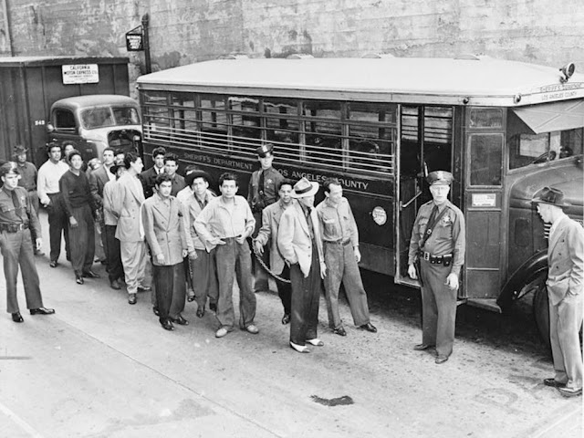 """Zoot Suiters"" under Arrest in Los Angeles, 1943. Courtesy Library of Congress"