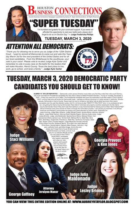 "You Can View Our ""Super Tuesday"" Edition of Houston Business Connections Newspaper©"