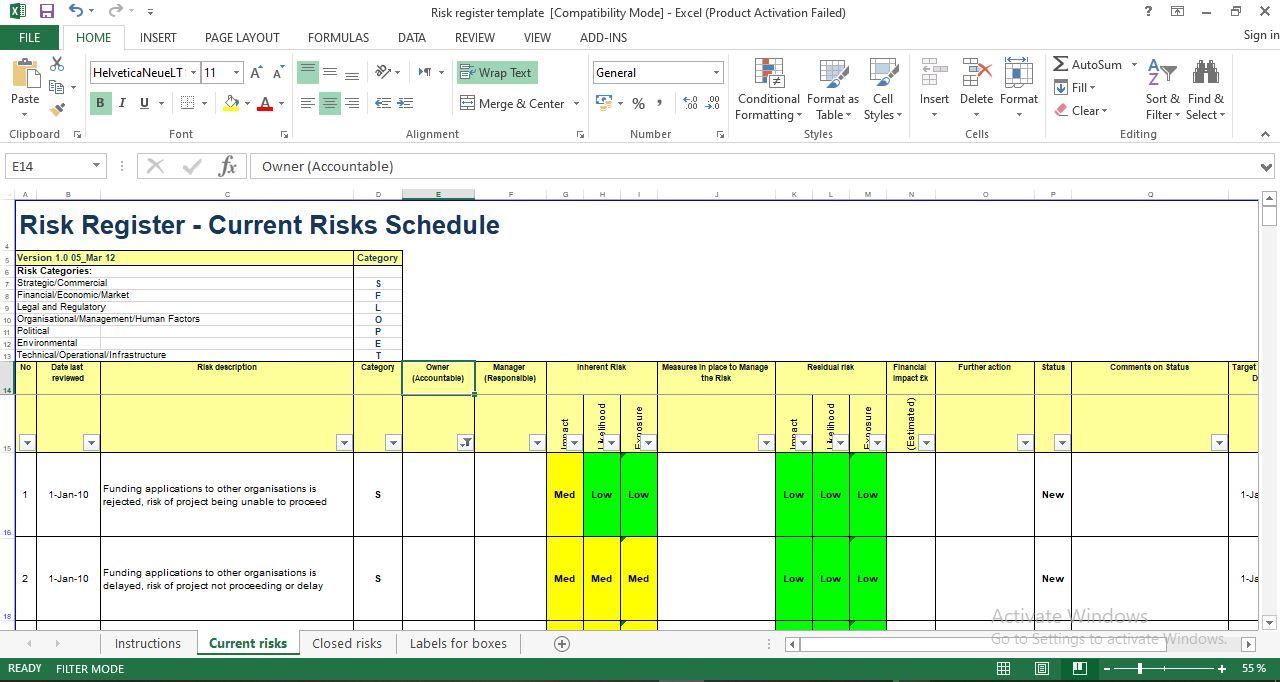Risk register template free download