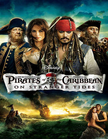 Poster Of Pirates of the Caribbean On Stranger Tides 2011 Dual Audio 600MB BRRip 720p HEVC Free Download Watch Online downloadhub.in