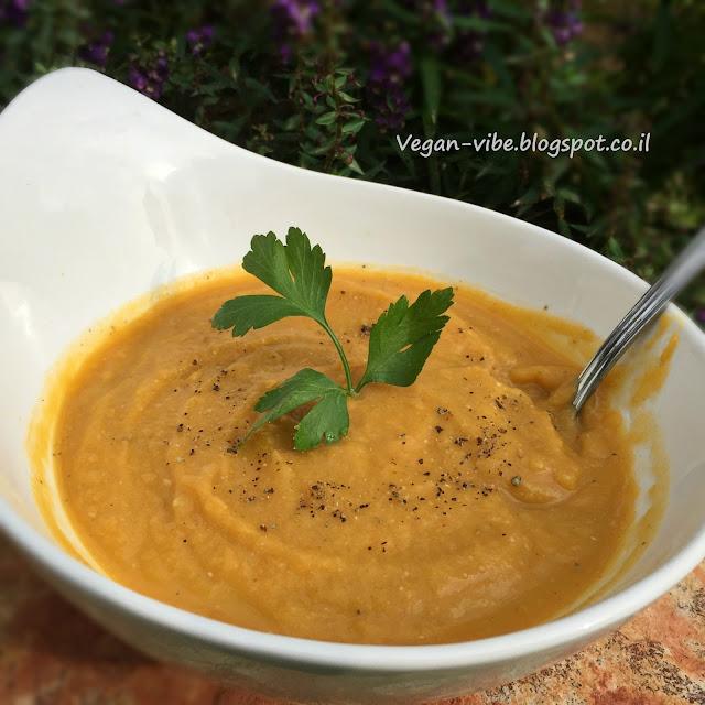 מרק כתום קרמי עשיר   Yummy Vegan Vibe Recipes