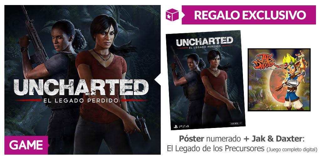 Consigue juego gratis y póster exclusivo numerado reservando Uncharted El Legado Perdido en GAME