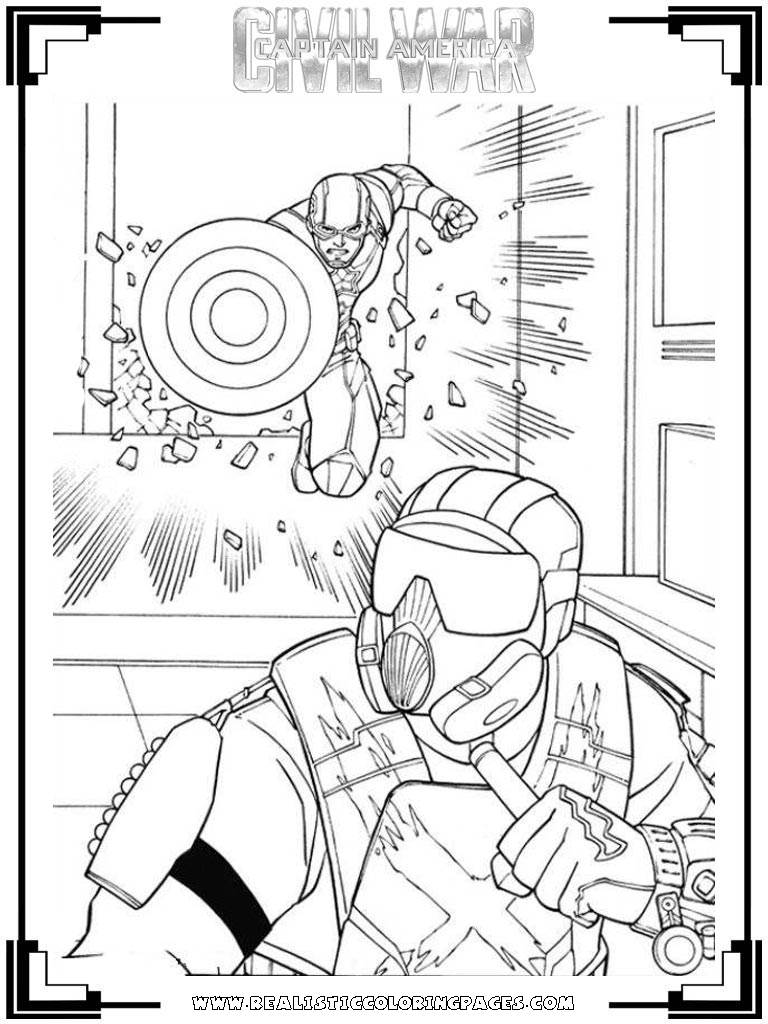 realistic captain america civil war coloring pages - Captain America Pictures To Color