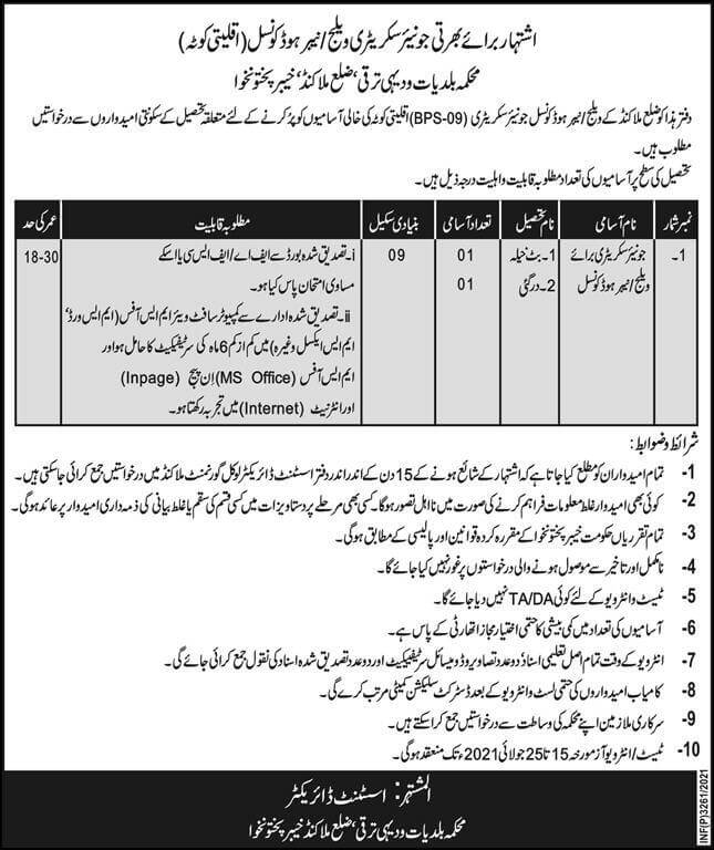 Local Government and Rural Development Department KPK Jobs 2021 Advertisement