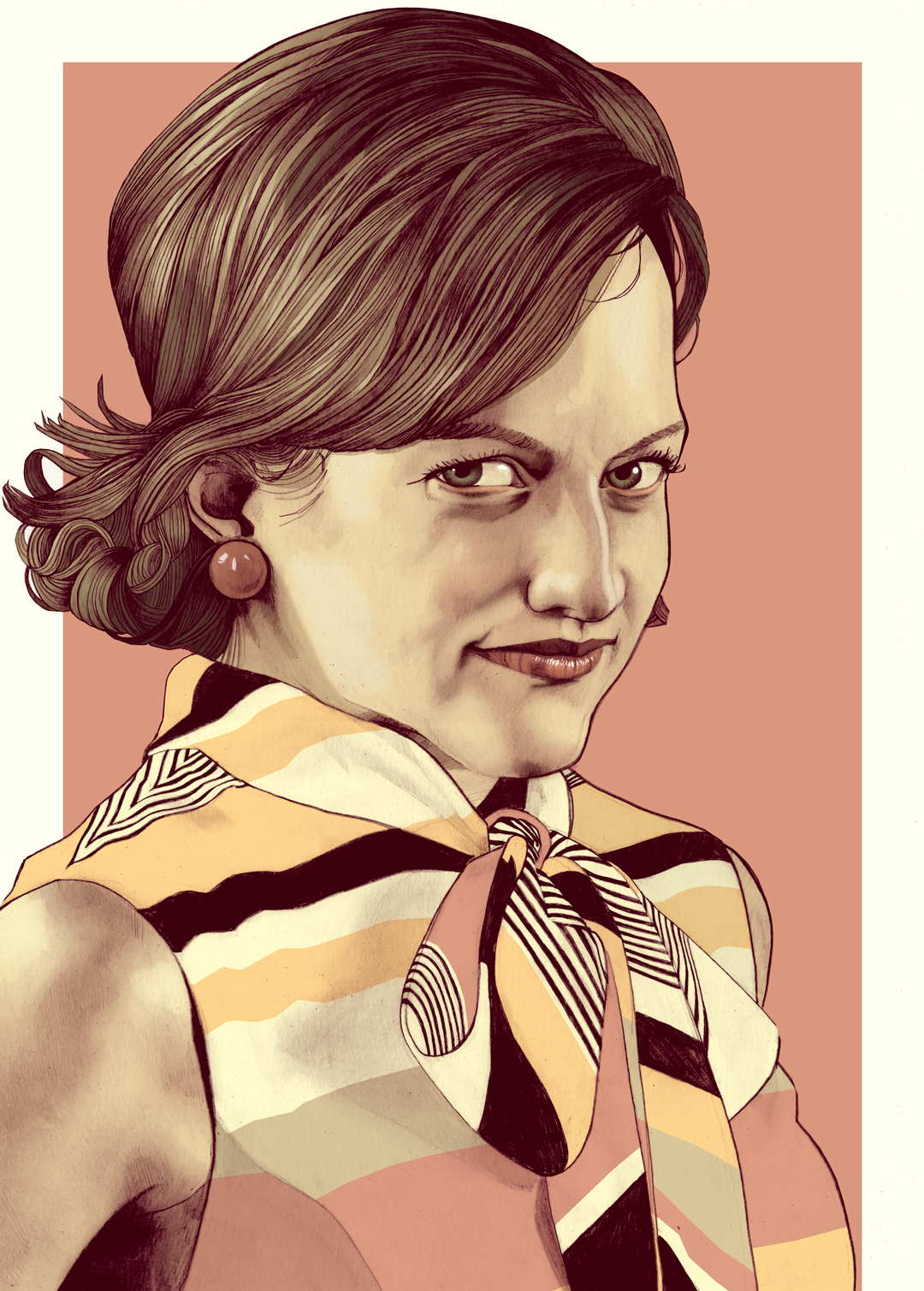 Peggy Olson Mad Men portrait illustration
