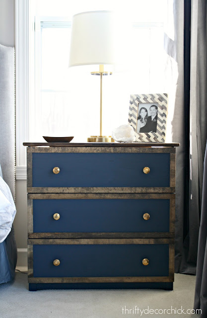 Tarva dresser with paint and Minwax stain on trim