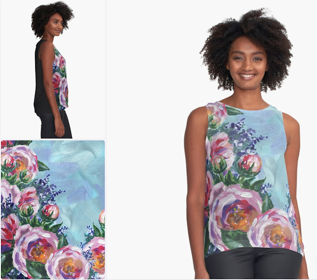 Impressionistic Flowers Summer Top Pink on Blue