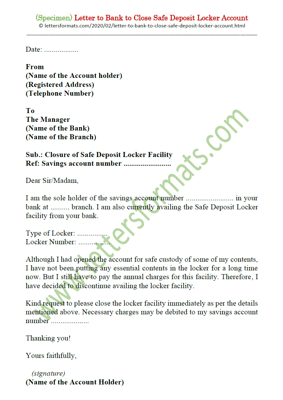 Letter To Bank To Close Safe Deposit Box Facility Locker Account