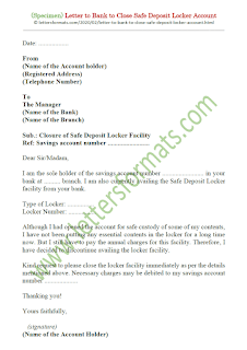 how to write a letter to bank manager to close locker
