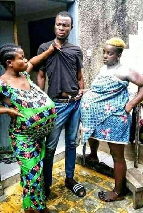 Caption This Photo Of This Man With His Two Pregnant Girlfriends (Photo) 1