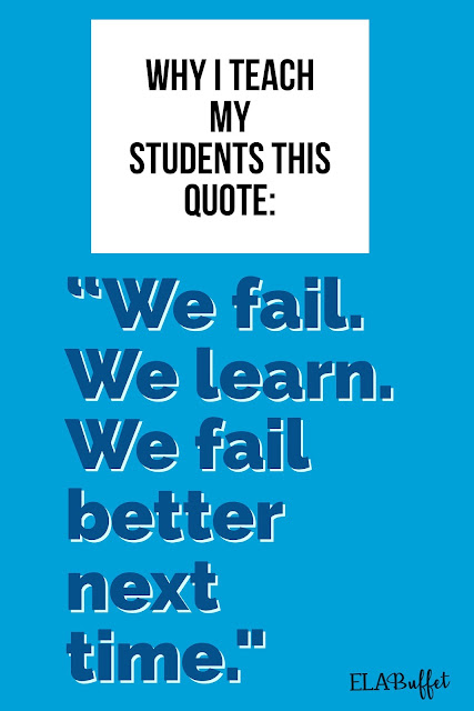 Although I would like to say we build a culture of success in my classroom, we actually pay much regard to failure. Read this and find out why.