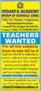 Vendanta Academy Group of Schools Wanted Teachers for All Subjects from KG to X
