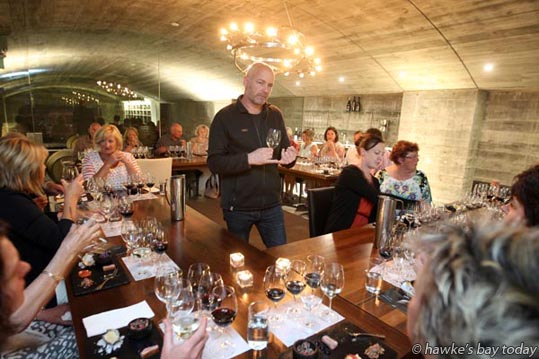 Steve Skinner, chief winemaker, Elephant Hill Winery, speaking at The Underground Reserve, a F.A.W.C! Food and Wine Classic event at Elephant Hill Winery, Te Awanga. photograph
