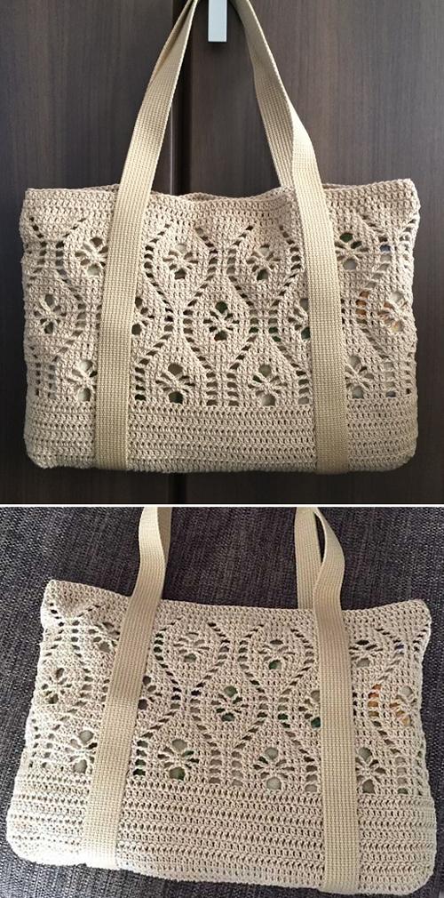Flower Tote -  Free Crochet Pattern