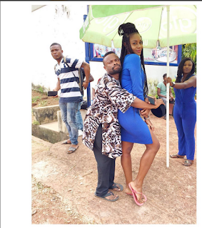 Checkout How Okon-Lagos Passionately Cuddles Actress Yvonnel Nelson From Behind [Photos]