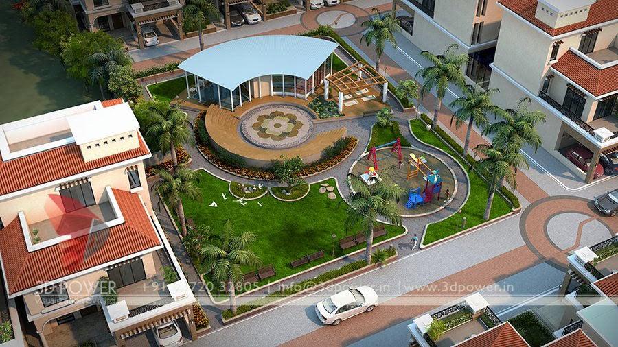 3d animation 3d rendering 3d walkthrough 3d interior for Row house garden design