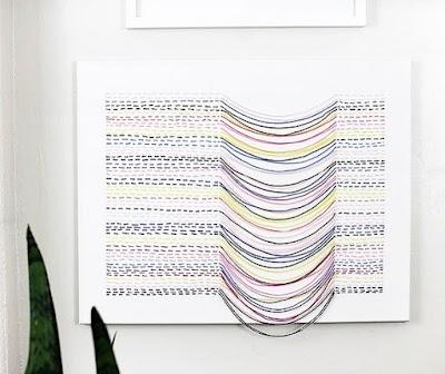 Cómo bordar un lienzo con hilos de colores en movimiento
