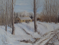 Sap collecting season, oil, 11 x 14 - people collecting buckets of mapel sap in a sugarbush