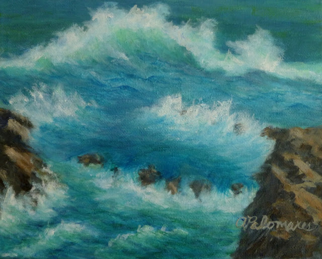 Painting of a rocky coastal area of California