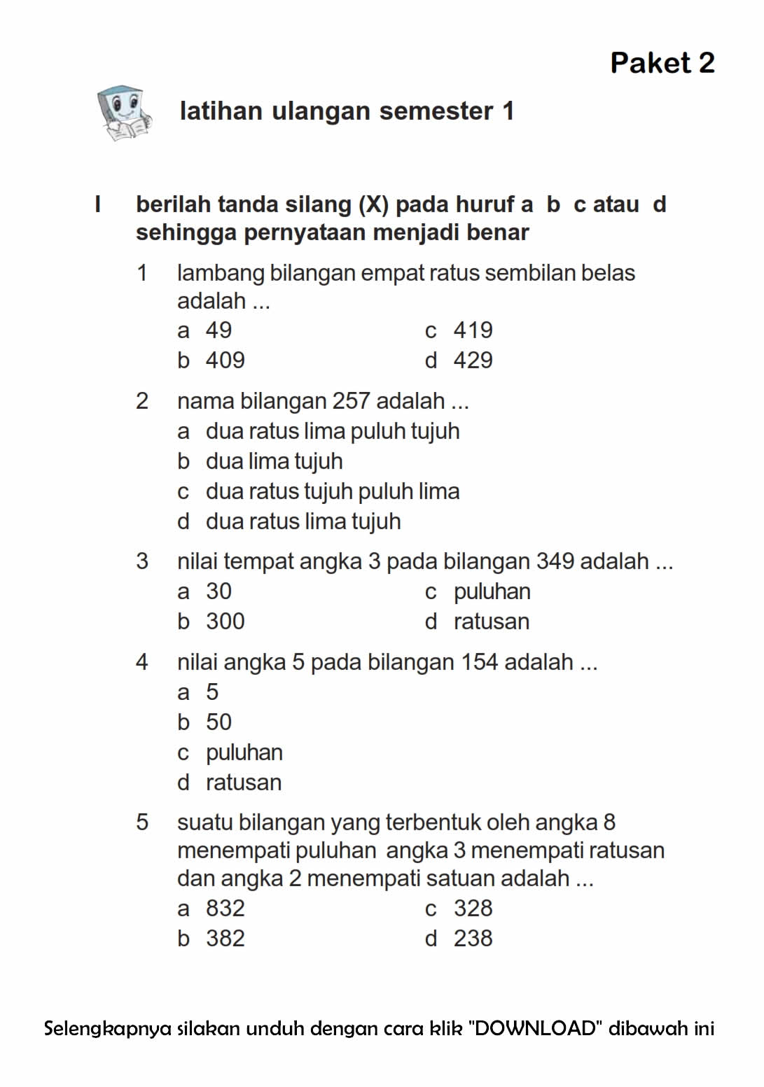 Download Soal UAS Ganjil Matematika Kelas 2 Semester 1  2015/2016 ~ Rief Awa Blog : Download