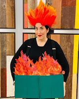 My friend Jennifer Leggio sports prophetic dumpster fire halloween costume in 2019