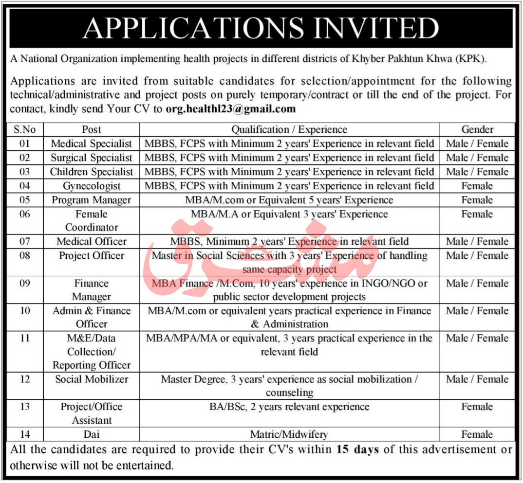 National Organization Implementing Health Projects Jobs 2021 in Pakistan - Online Apply :- org.health123@gmail.com
