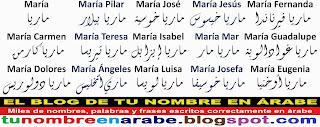 para tattoos Nombre en letras en arabe: Maria Angeles Jose Isabel Luisa