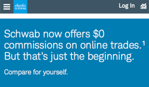 Schwab now offers $0 commision on online trades