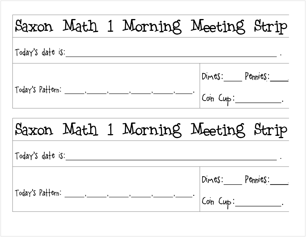 What The Ones In Colorado Are Up To Saxon Math 1 Meeting Printable
